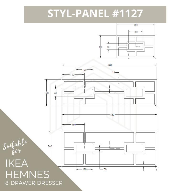 Styl-Panel Kit: #1123 to suit IKEA Malm 3 or 4 or 6 drawer chest