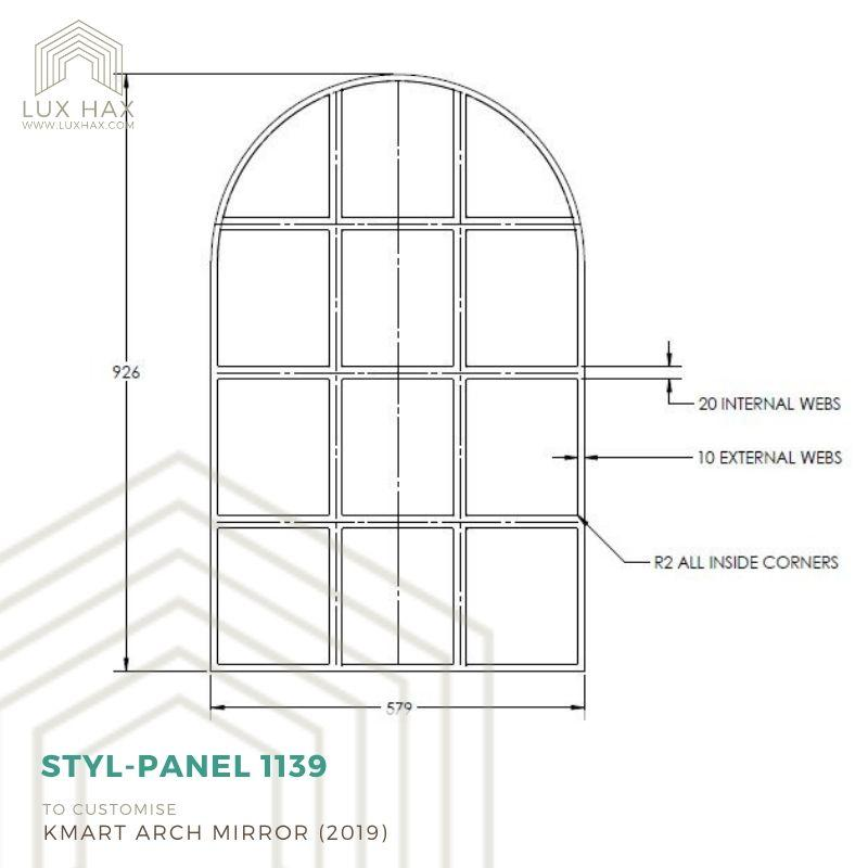 Kmart hack - add panels to Kmart Arch Mirror - tech drawing