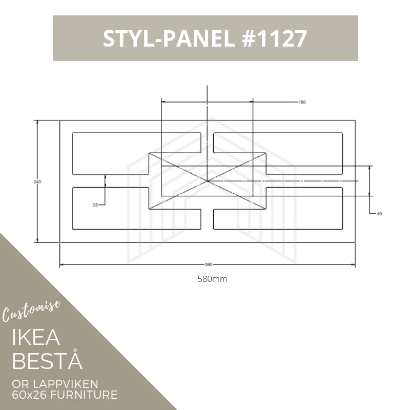 Styl-Panel #1127 to suit Ikea Besta 60x26 furniture *GOLD SHELF STOCK*