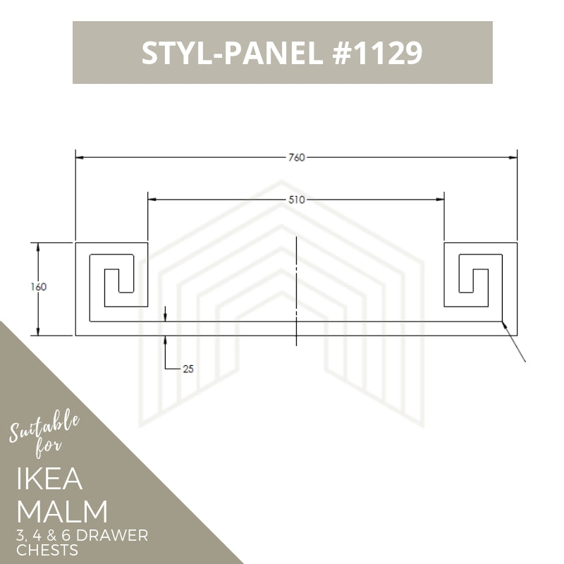 Styl-Panel Kit: #1129 to suit IKEA Malm 3 or 4 or 6-drawer chest