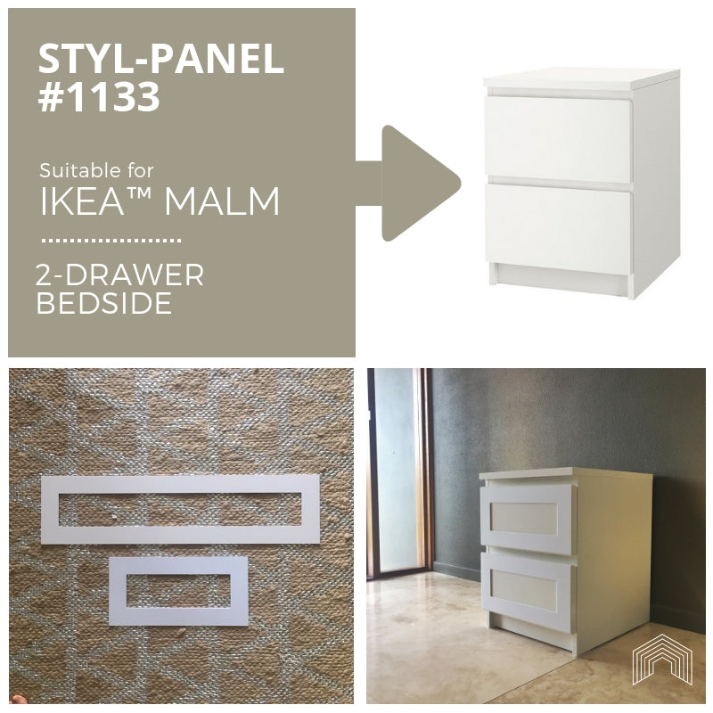 Styl-Panel Kit: #1133 to suit IKEA Malm 2-drawer bedside table