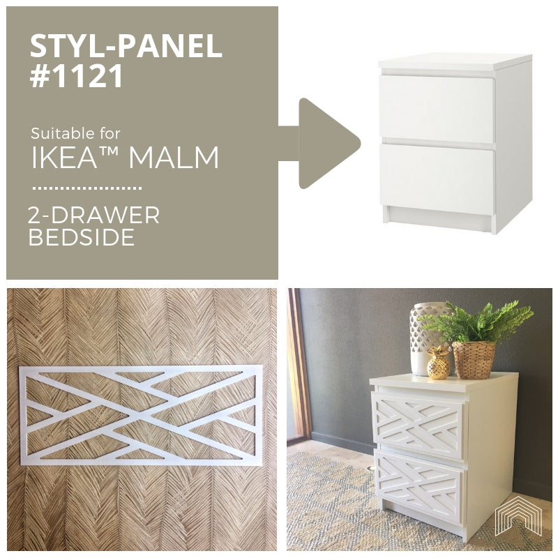 Styl-Panel Kit: #1121 to suit IKEA Malm 2-drawer bedside table