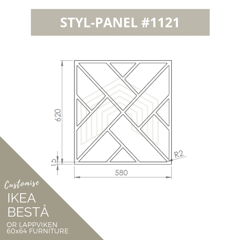 Styl-Panel #1121 to suit IKEA Besta 60x64 furniture