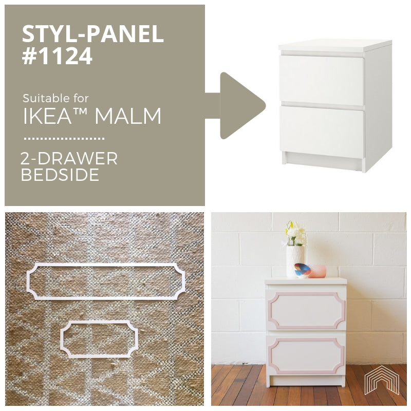 Styl-Panel Kit: #1124 to suit IKEA Malm 2-drawer bedside table