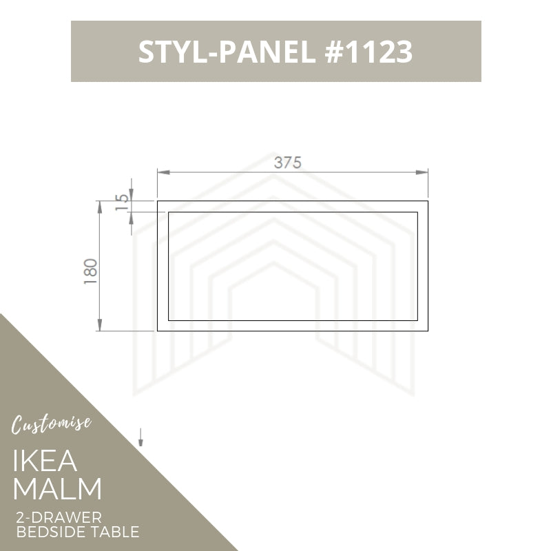 Styl-Panel Kit: #1123 to suit IKEA Malm 2-drawer bedside table