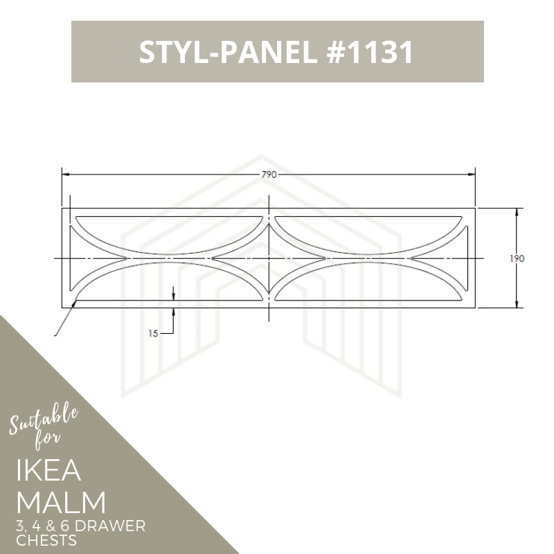 Styl-Panel Kit: #1131 to suit IKEA Malm 3 or 4 or 6 drawer chest