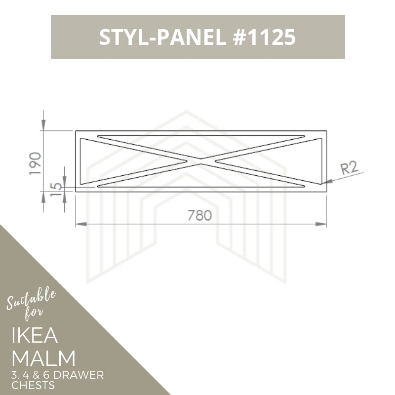 Styl-Panel Kit: #1125 to suit IKEA Malm 3 or 4 or 6 drawer chest