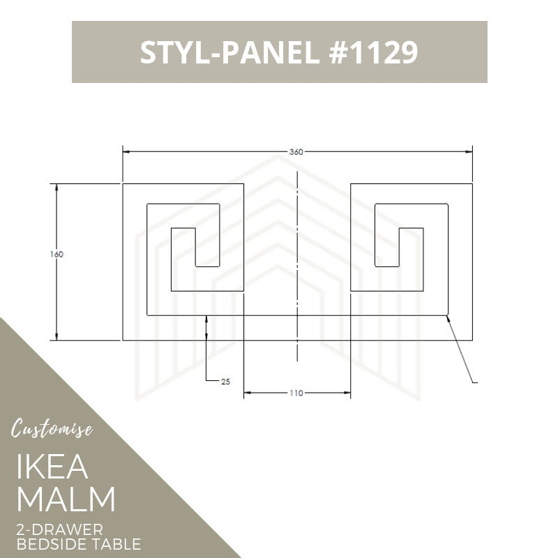 Styl-Panel Kit: #1129 to suit IKEA Malm 2-drawer bedside table