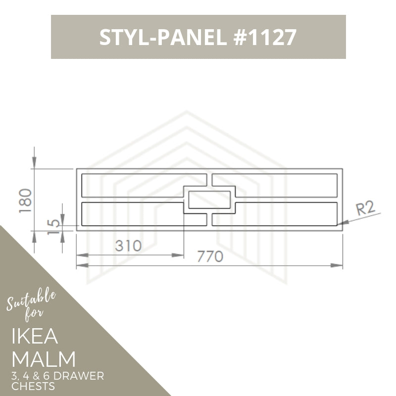 Styl-Panel Kit: #1127 to suit IKEA Malm 3 or 4 or 6-drawer chest