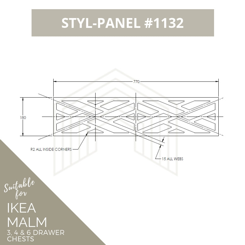 Styl-Panel Kit: #1132 to suit IKEA Malm 3 or 4 or 6 drawer chest