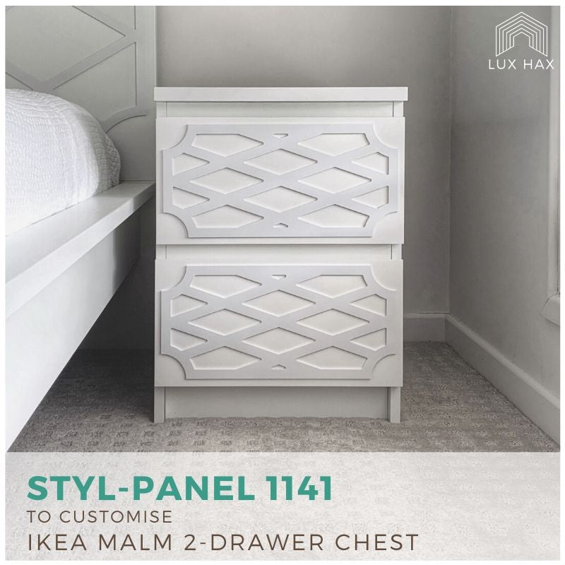 Styl-Panel Kit: #1141 to Suit IKEA Malm 2-Drawer Bedside Table or Tallboy