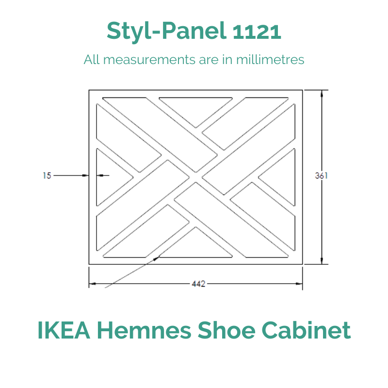 Styl-Panel 1121 to suit IKEA Hemnes Shoe Cabinet