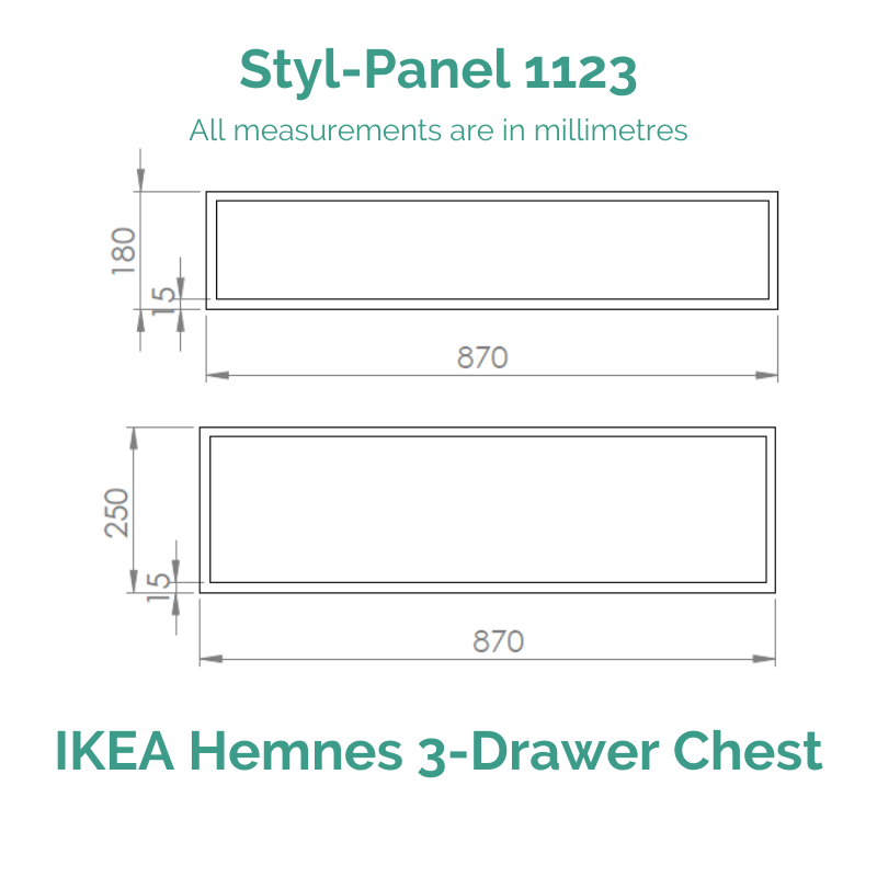Styl-Panel Kit: #1123 to suit IKEA Hemnes 3-drawer dresser