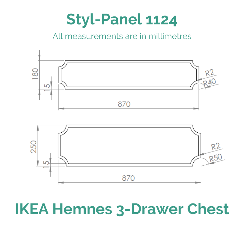 Styl-Panel 1124 to suit IKEA Hemnes 3-Drawer Chest