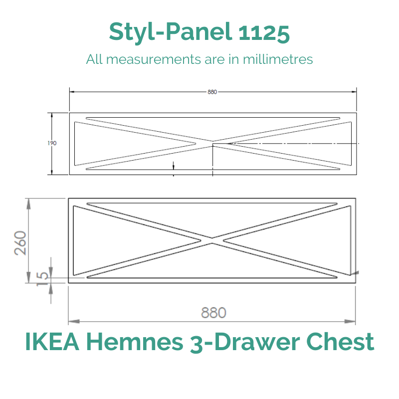 Styl-Panel 1125 to suit IKEA Hemnes 3-Drawer Chest