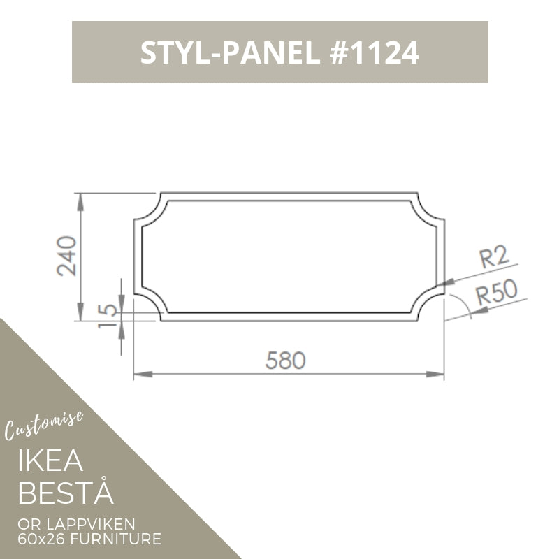 Styl-Panel #1124 to suit IKEA Besta 60x26 furniture