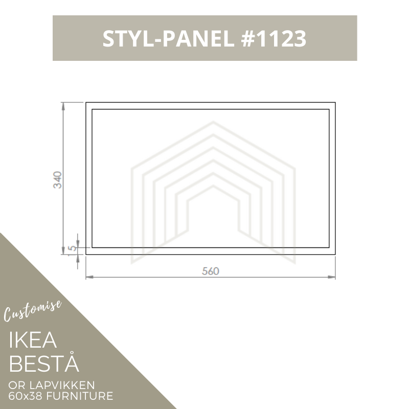 Styl-Panel #1123 to suit IKEA Besta 60x38 furniture *GOLD SHELF STOCK*