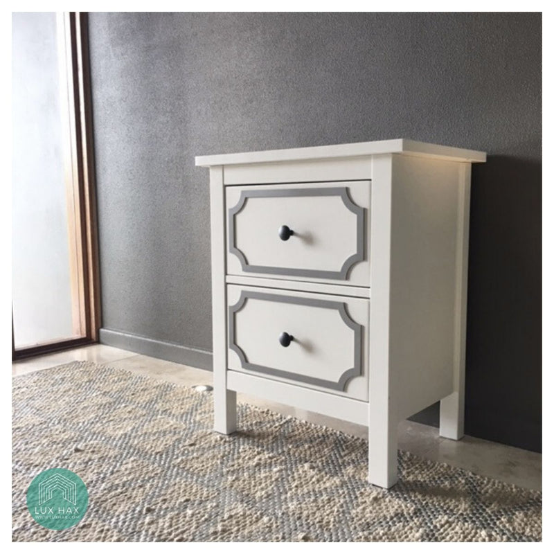 Styl-Panel Kit: #1124 to suit IKEA Hemnes 2-drawer bedside table *SILVER SHELF STOCK*