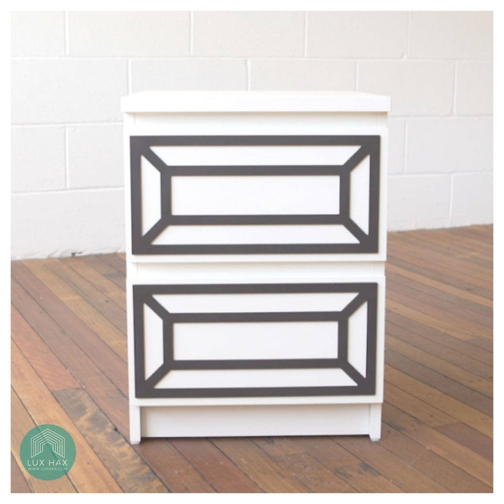 Styl-Panel #1113 to suit IKEA Malm 2-drawer chest *WHITE SHELF STOCK*