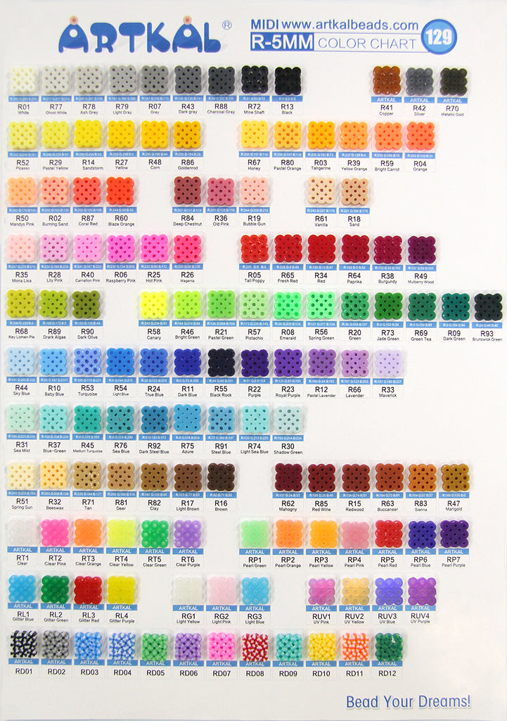 R- Soft Midi Artkal Beads Color Chart