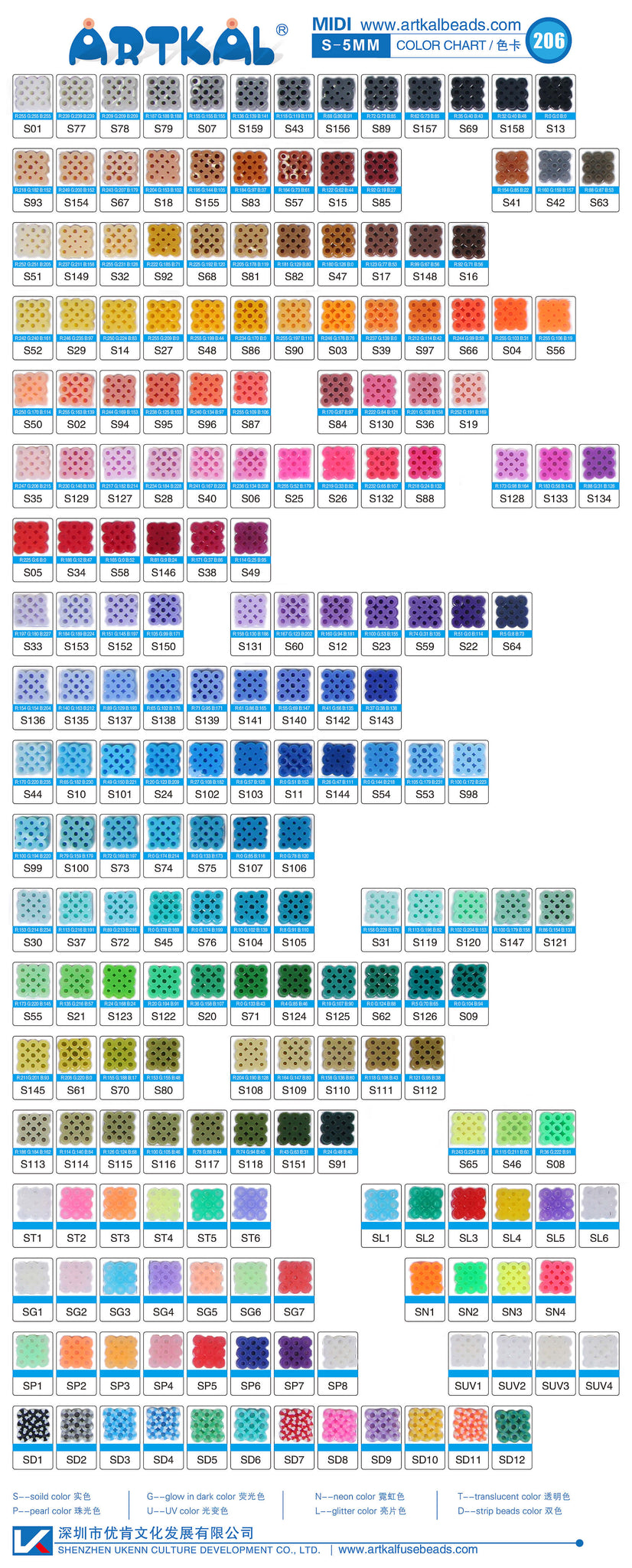 S 5mm artkal color chart artkal beads store s 5mm artkal beads color chart 206 colors nvjuhfo Gallery