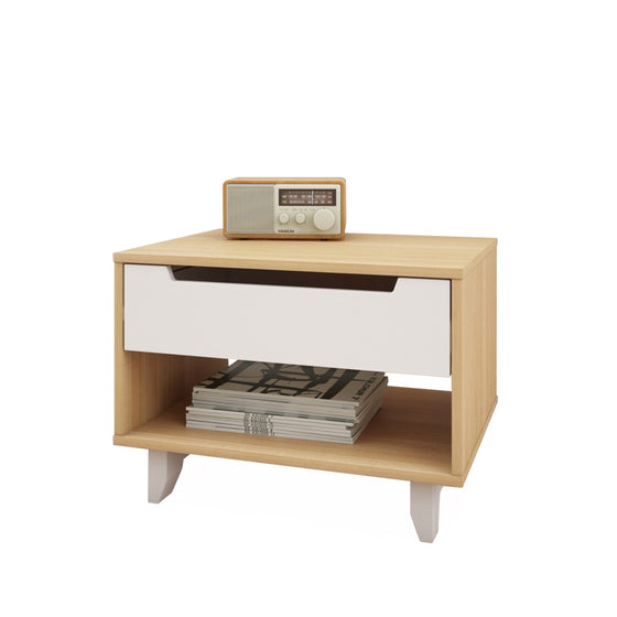 Mattress to My Door Lugo Nightstand - Natural Maple/White