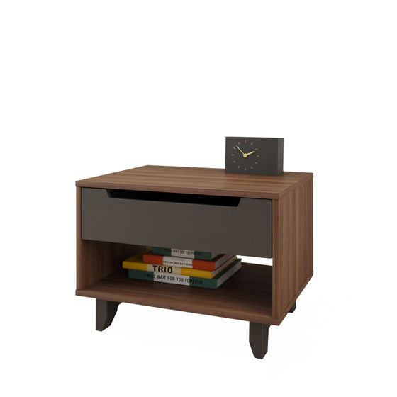 Lugo Nightstand - Walnut/Charcoal