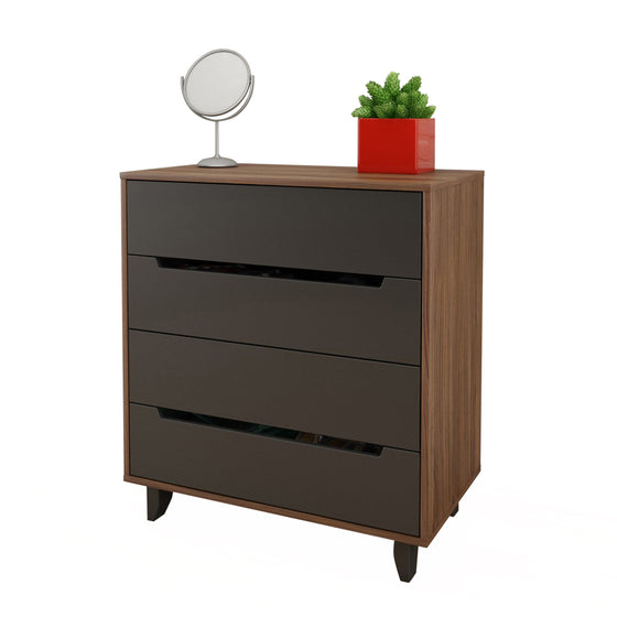 Lugo 4-Drawer Chest - Walnut/Charcoal