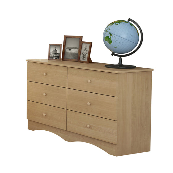 Alora 6-Drawer Double Dresser- Natural Maple