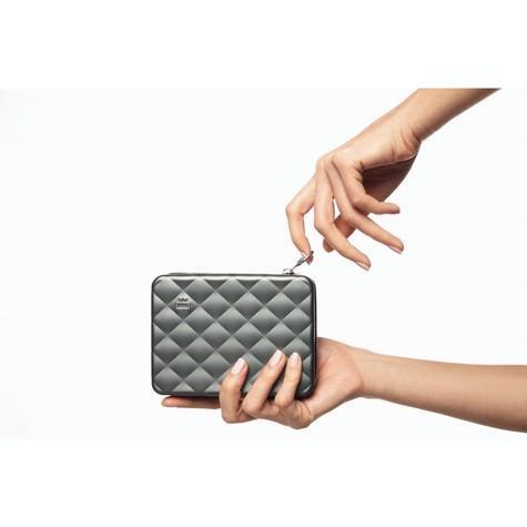Ögon Designs - Quilted Aluminium zipper lommebok/mini clutch Platiniums farget