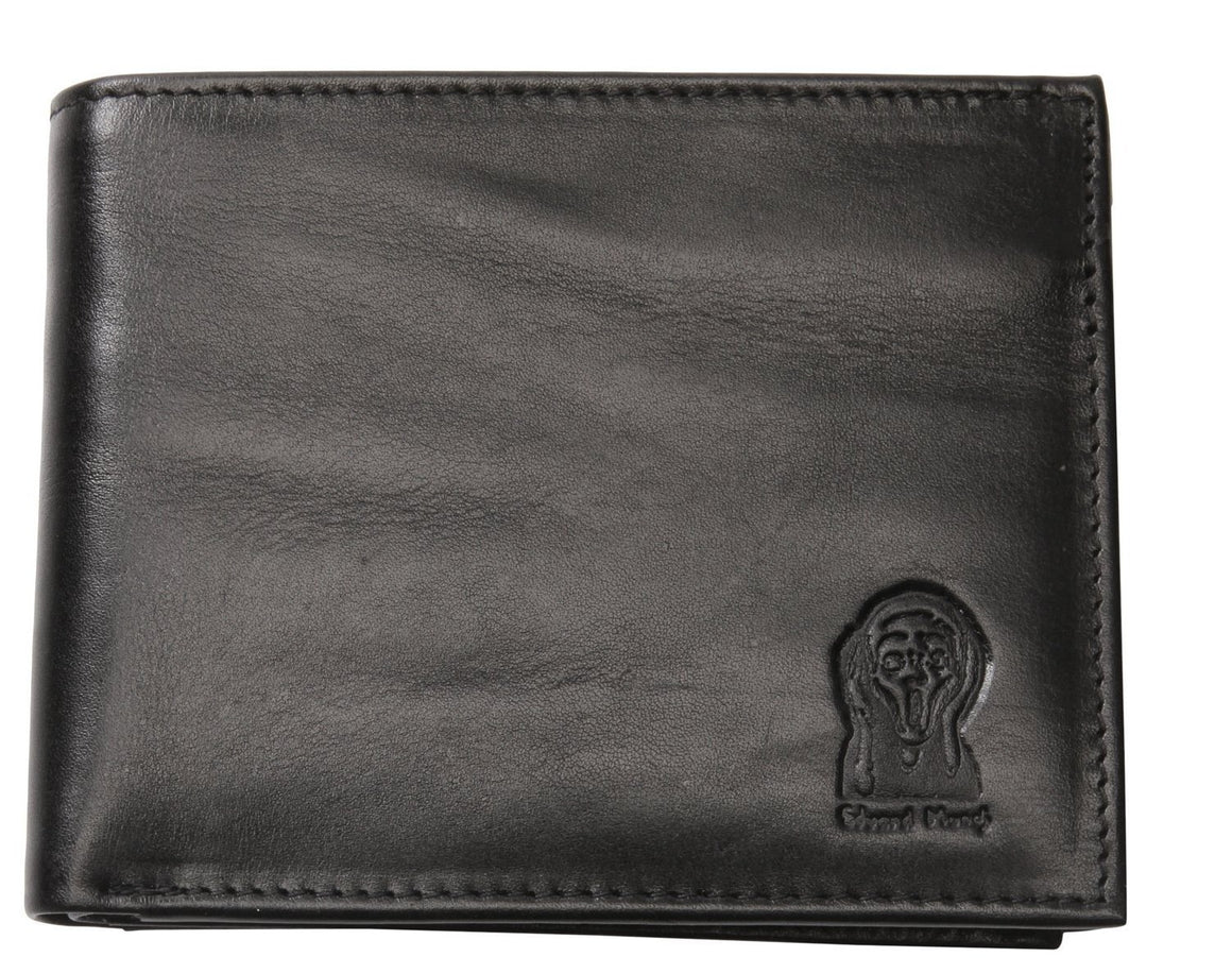 Edvard Munch Scream by Nord Leather. Dollar skinn lommebok Sort