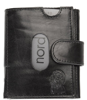 Edvard Munch Scream by Nord Leather. Liten Unisex skinn Lommebok-Kortholder Sort