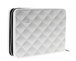 Ögon Designs - Quilted Aluminium zipper lommebok/mini clutch sølv farged
