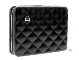 Ögon Designs - Quilted Aluminium zipper lommebok/mini clutch Sort