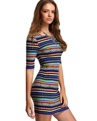 Color stripped bodycon