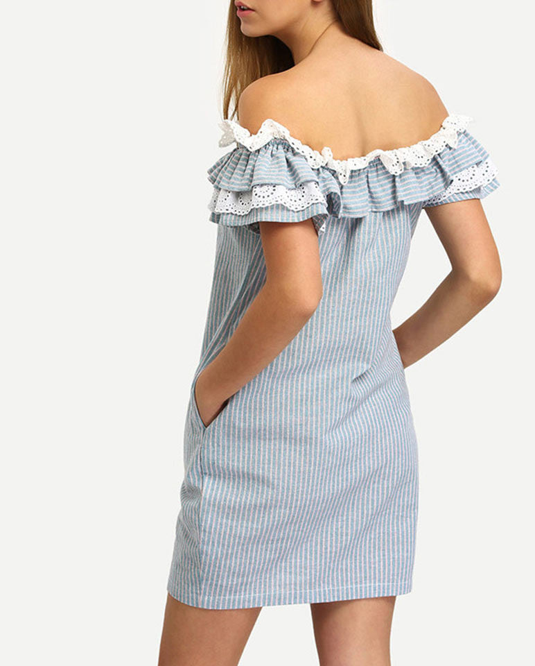 Off the shoulder frill dress