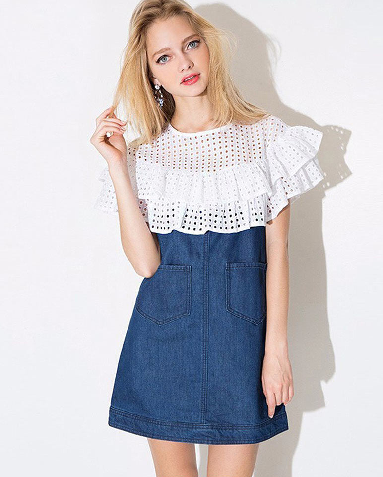 Top lace denim dress