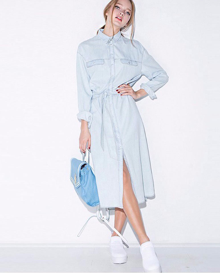 Long sleeve shirt denim dress