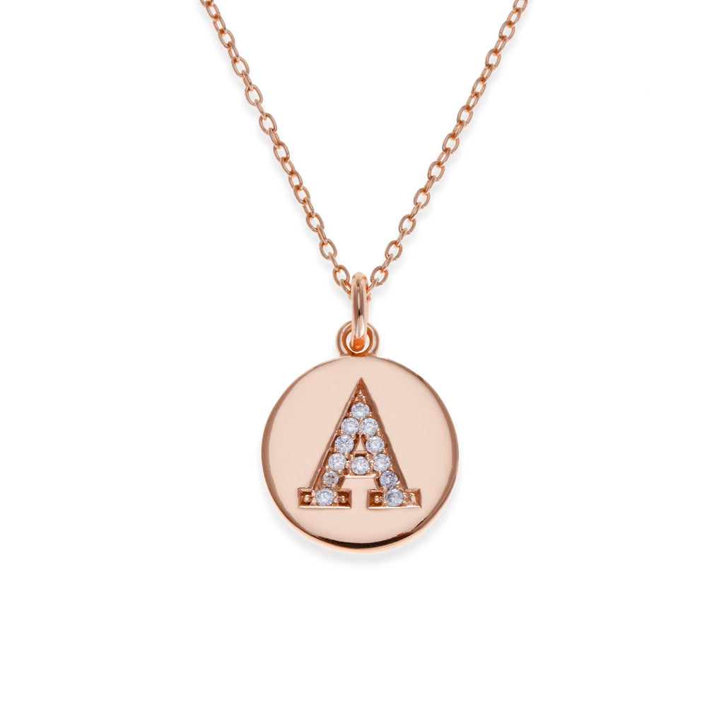 18K Rose Gold Plated Initial Necklace - A | Kith & Kin | It's Personal Collection