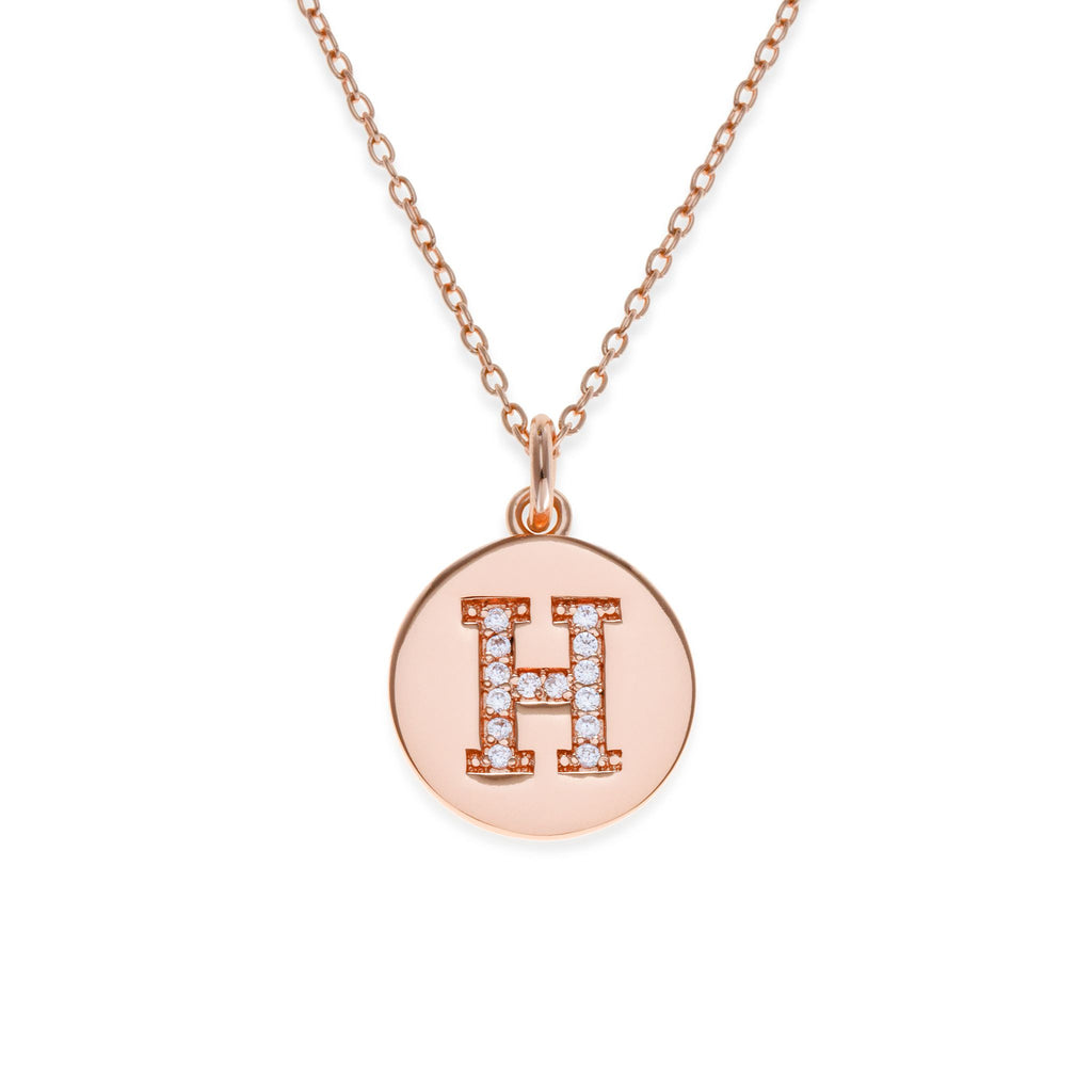 18K Rose Gold Plated Initial Necklace - H | Kith & Kin | It's Personal Collection