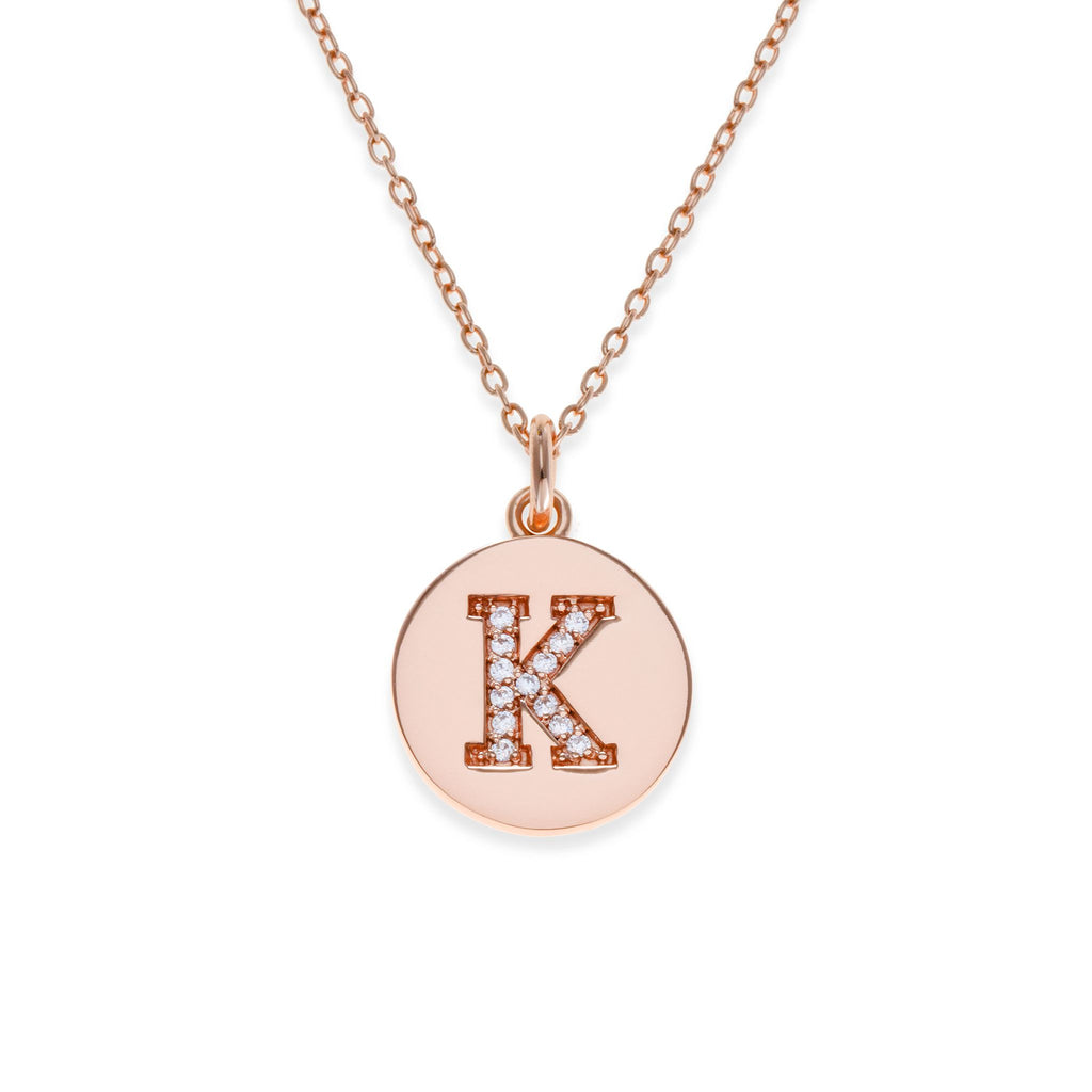 18K Rose Gold Plated Initial Necklace - K | Kith & Kin | It's Personal Collection