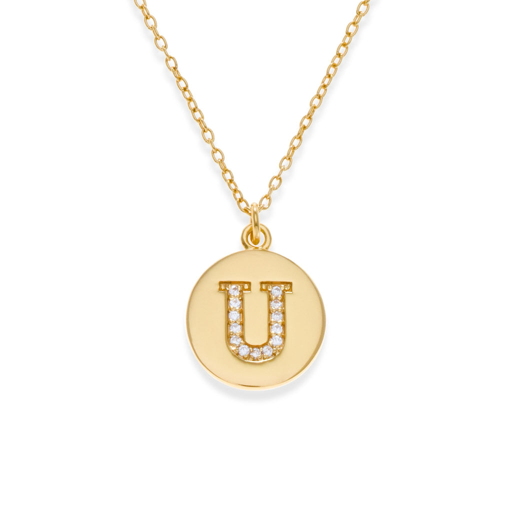 18K Gold Plated Initial Necklace - U | Kith & Kin | It's Personal Collection