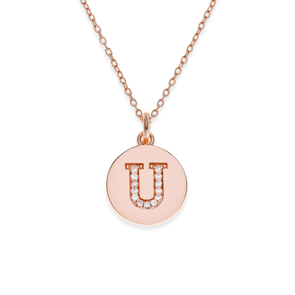 18K Rose Gold Plated Initial Necklace - U | Kith & Kin | It's Personal Collection