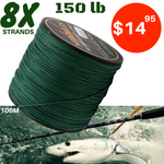 150 lb (68 kg) Big Game Super Strong 8X Braided Fishing Line Green 100 m - groovy-grabz