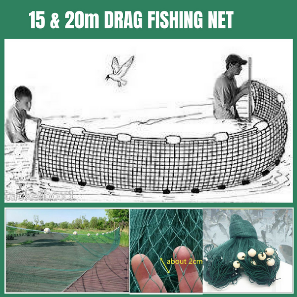 15 or 20 meters (49 or 65ft) Custom Monofilament  Fishing Drag Net