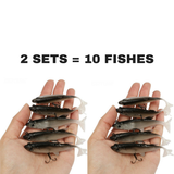 """SOFT KILL"" LIFELIKE SILICONE FISHING LURES, SET OF 5"