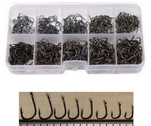 Carbon Steel Barbed Fish Hooks- 10 Sizes/ 600 Hooks Box - groovy-grabz