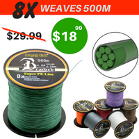 8X Weaves Super Strong Fused Braided Fishing Line, 8-45kg (18-80lb), 500m (546 yards) - groovy-grabz