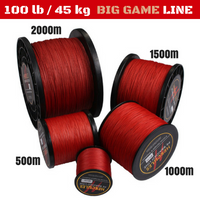 100 lb (45 kg) Big Game Super Strong 8X Braided Fishing Line 500, 1000, 1500 and 2000 m