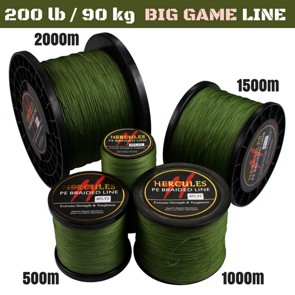 200 lb (90.7 kg) Big Game Super Strong 8X Braided Fishing Line 500, 1000, 1500 and 2000 m